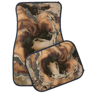Old Brown Marble texture Liquid paint art Car Mat