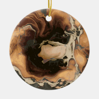 Old Brown Marble texture Liquid paint art Ceramic Ornament