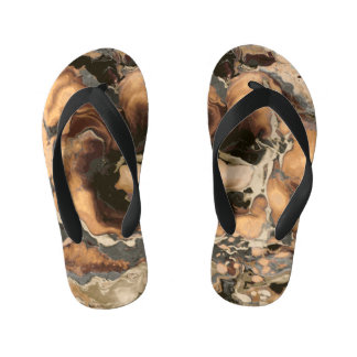 Old Brown Marble texture Liquid paint art Kid's Flip Flops