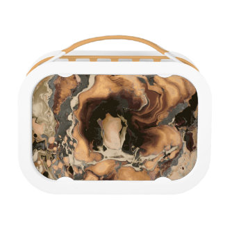 Old Brown Marble texture Liquid paint art Lunch Box
