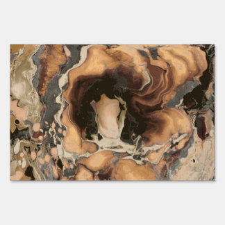 Old Brown Marble texture Liquid paint art Sign