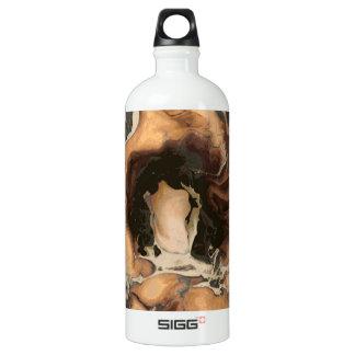 Old Brown Marble texture Liquid paint art Water Bottle