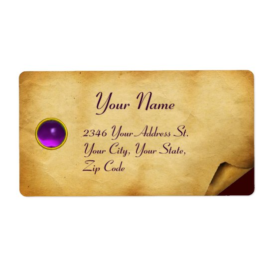 OLD BROWN PARCHMENT,GEM STONE SHIPPING LABEL