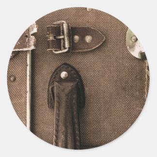 Old Brown Suitcase Round Sticker
