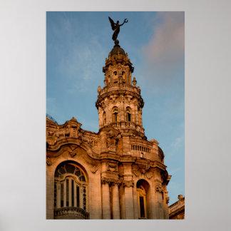 Old building Spire, Havana, Cuba Poster
