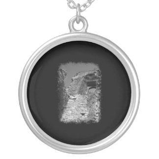 Old building. Stone Walls with Window. Silver Plated Necklace