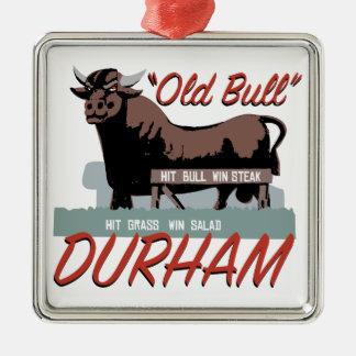 Old Bull Durham Silver-Colored Square Ornament
