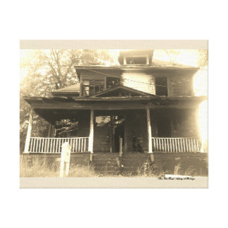 Old Burned House Picture Canvas Print