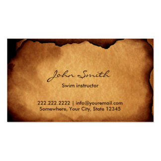 Old Burned Paper Swim Instructor Business Card