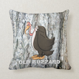 Old Buzzard cartoon throw pillow