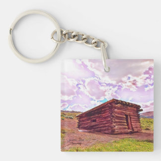Old Cabin in Coyote by Jacqueline Kruse Keychain