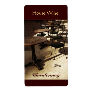 Old cafe house wine bottle label shipping label