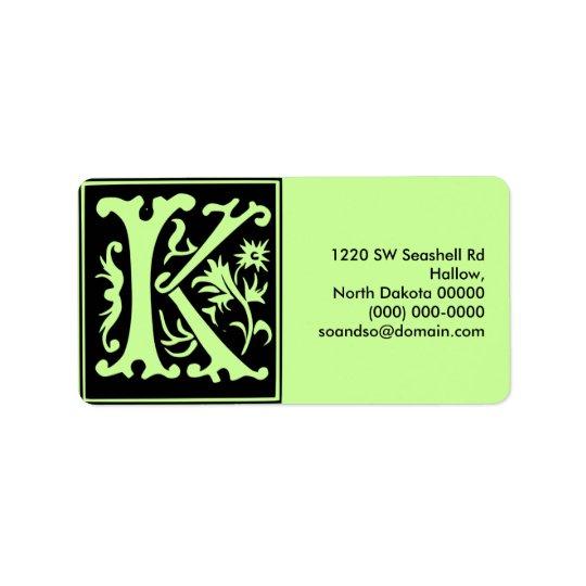 Old Calligraphy Letter K Address Label Landscape