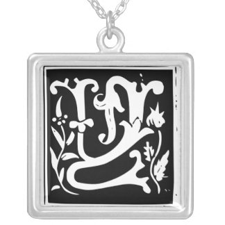 Old Calligraphy Letter Y Monogram Silver Necklace