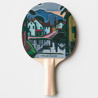 """Old Canal Port"" art custom ping pong paddle"