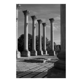 Old Capitol Columns B&W Poster