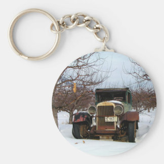 Old car in Orchard Basic Round Button Keychain