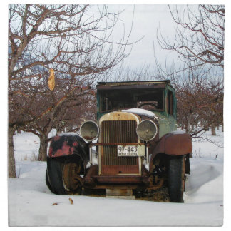 Old car in Orchard Napkin
