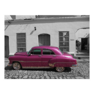 Old car in Trinidad, Cuba Poster