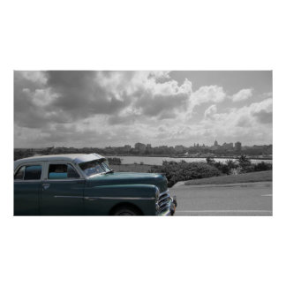 Old car passing by in Havana Poster