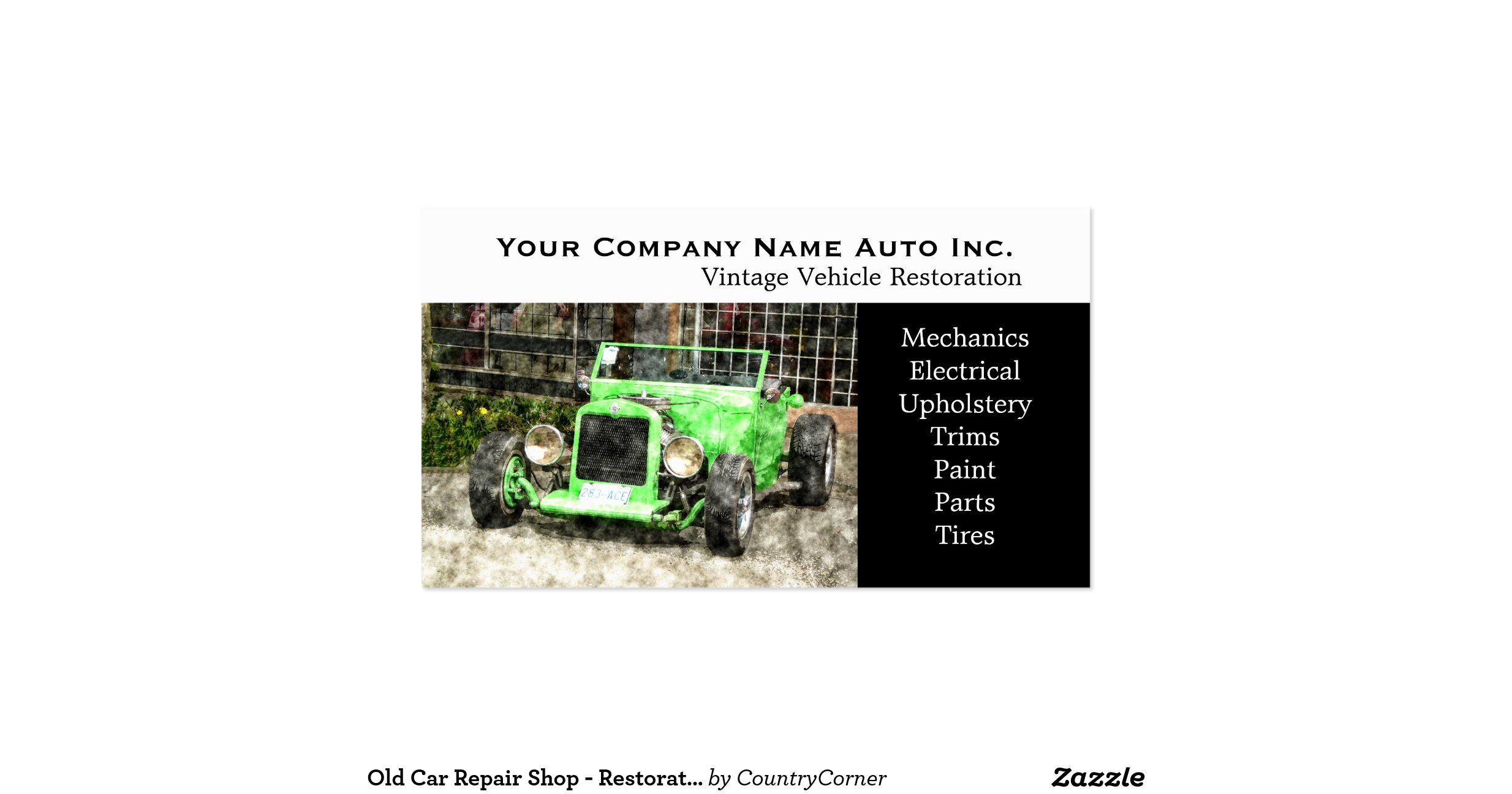Old car repair shop restorations pack of standard for Mechanic shop business cards