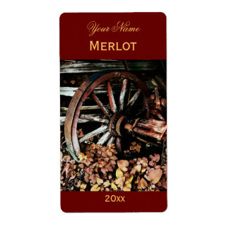 Old cart wheel red wine label shipping label