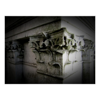old carved columns poster