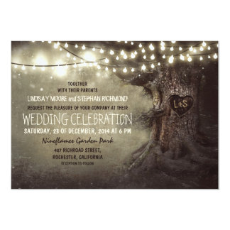 "old carved tree twinkle lights rustic wedding 5"" x 7"" invitation card"