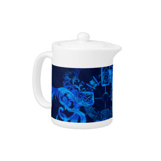 Old Celtic Design in Blue Art Teapot