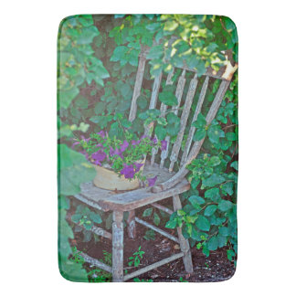 Old Chair New Petunias Bathmat