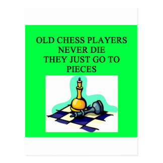 old chess players never die postcard