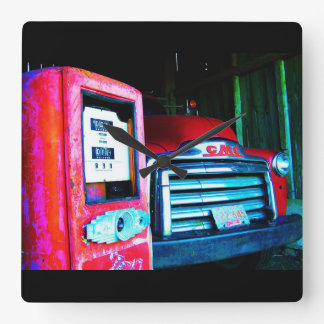 Old Chevy Farm Truck Square Wall Clock