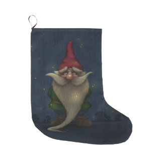 Old Christmas Gnome Large Christmas Stocking