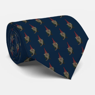 Old Christmas Gnome Patttern Blue Tie