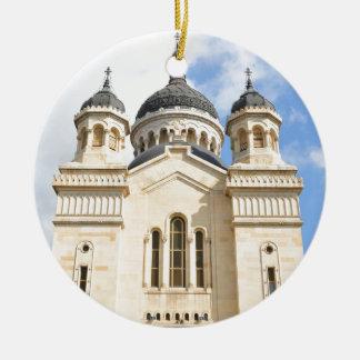 Old church in Cluj Napoca, Romania Round Ceramic Ornament