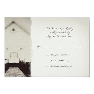 "Old Church Vintage Wedding RSVP 3.5"" X 5"" Invitation Card"