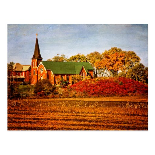 Old Church with Fall Colors Post Card