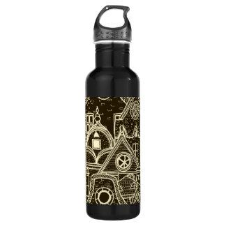 Old City sketchy pattern on dark background 710 Ml Water Bottle