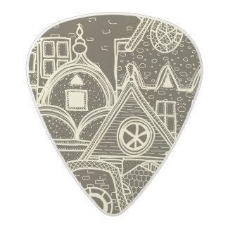Old City sketchy pattern on dark background Acetal Guitar Pick