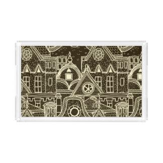 Old City sketchy pattern on dark background Acrylic Tray
