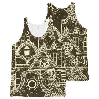 Old City sketchy pattern on dark background All-Over-Print Tank Top