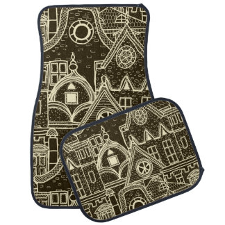 Old City sketchy pattern on dark background Auto Mat