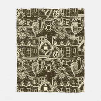 Old City sketchy pattern on dark background Fleece Blanket