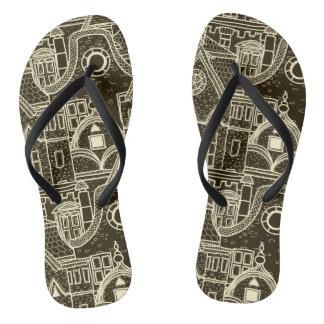 Old City sketchy pattern on dark background Flip Flops