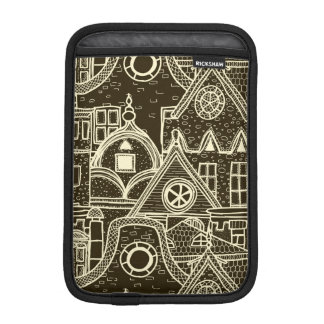 Old City sketchy pattern on dark background iPad Mini Sleeve