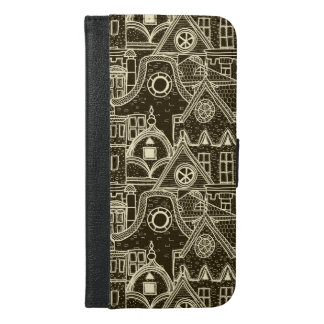 Old City sketchy pattern on dark background iPhone 6/6s Plus Wallet Case