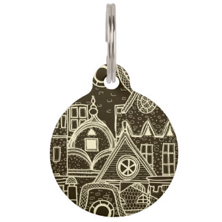 Old City sketchy pattern on dark background Pet ID Tags