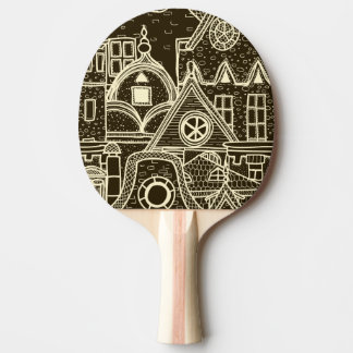 Old City sketchy pattern on dark background Ping Pong Paddle