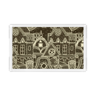 Old City sketchy pattern on dark background Serving Tray