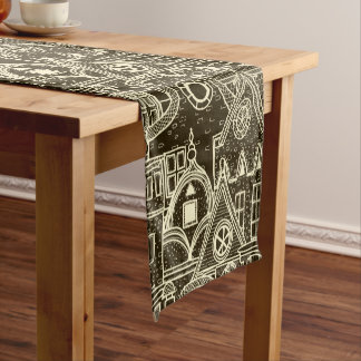 Old City sketchy pattern on dark background Short Table Runner